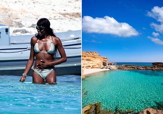 Naomi Campbell szintén a Földközi-tenger partjainál pihent, azon belül is a Baleár-szigetek legkisebb tagján, Formenterán.