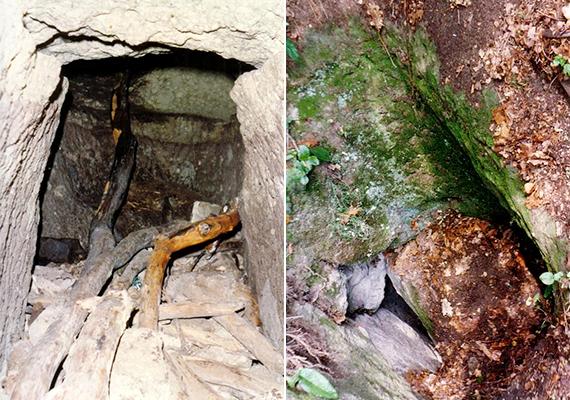 Mindemellett egy sziklába vájt folyosót is felfedeztek, melyben lépcsős lejárat vezetett egy, akár sírkamrának is beillő teremhez. Vannak, akik úgy vélik, ez a hely, mai nevén a Weislich-barlang akár Árpád sírkamrája is lehetett, míg mások szerint csupán betyárbúvóhelyként szolgált. A bal oldali képen a barlang látható belülről, a jobb oldalin pedig az akna bejárata kívülről.