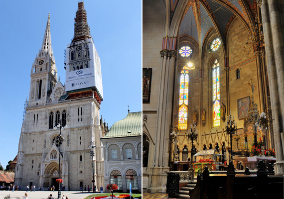 Horvátország fővárosában, Zágrábban található a Mária mennybemenetele-székesegyház. Itt őrzik Szent László koronázási palástját, de magyar főúri síremlékeket is rejtenek a falak.