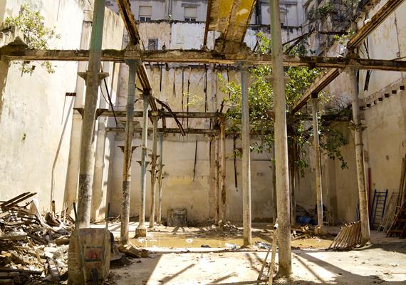 Elhagyott épület, amit lassan visszahódít a természet.