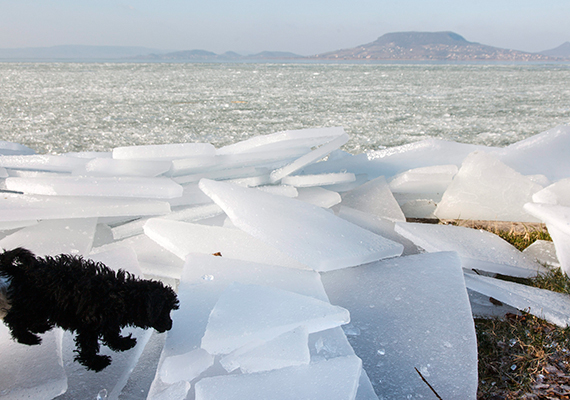 Jelentős méretű jégdarabok sorakoznak a part mellett.