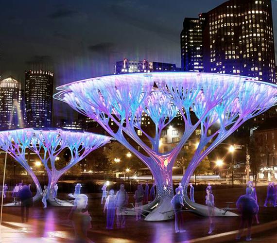 Az amerikai Boston városában kiállított mesterséges fák megtisztítják a város levegőjét.