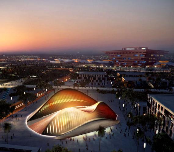 Az Arab Emirátusok Sanghaji Világkiállításon szereplő, később Abu Dhabiba költöztetett pavilonja 24 ezer darab acélból épült.