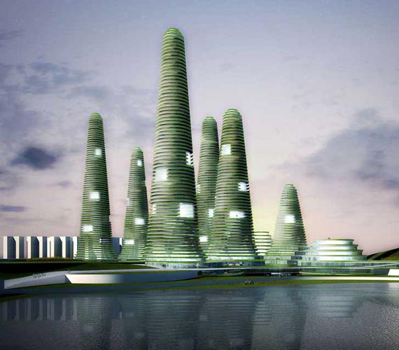 Szöul déli részének Gwanggyo városközpontjában kaktuszra emlékeztető, környezetbarát felhőkarcolók épülnek.
