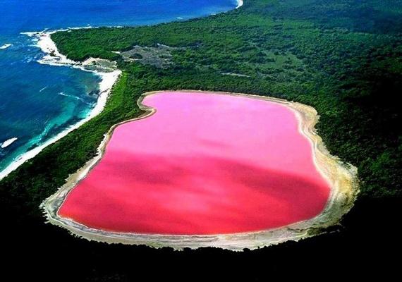 A hetedik helyen említik az ausztrál Hillier-tavat: bár korábban azt hitték, egy mikroalga miatt ilyen rózsaszín a víz, ezt nem sikerült bizonyítani.