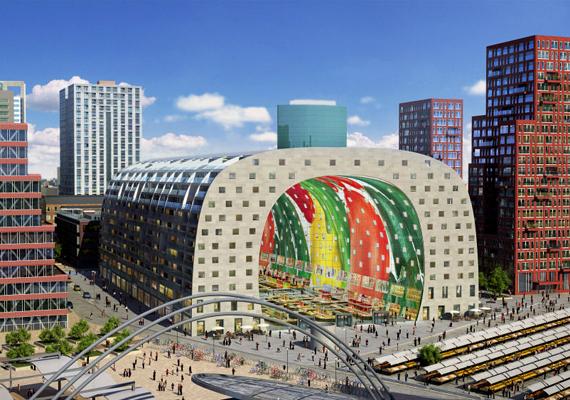 A hollandiai Rotterdam egy új projekt keretében megvalósuló piactere egy hatalmas alagútra hasonlít.