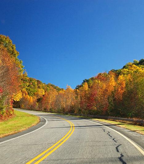 Blue Ridge Parkway, USAA 755 kilométeren át haladó Blue Ridge Parkway az utat végigkísérő festői tájaknak köszönheti népszerűségét. Az ősszel különösen gyönyörű útvonal a Blue Ridge hegyvonulat mellett halad el, mely a híres Appalache-hegység része.