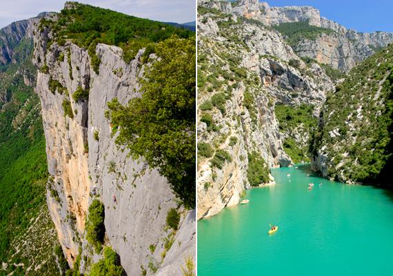 A franciaországi Verdon-szurdok méretei mellett gyönyörű színeiről is híres, nem véletlen, hogy nyaranta ellepik a kalandvágyó turisták.