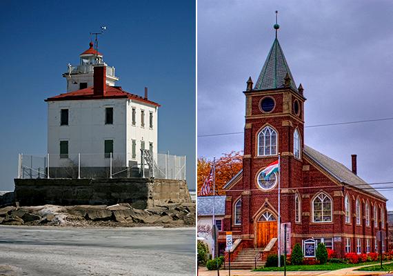 Az ohiói kis falu, Fairport Harbor lakosságának több mint 11%-a magyar származású. A bal oldali képen a település világítótornya, a jobb oldalin pedig a magyar református templom látható.