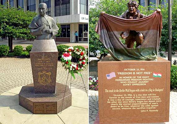 Csakúgy, mint a Mindszenty József bíborosról elnevezett tér, melyet 1975-ben avattak fel, 1997-ben pedig Mindszenty bronzszobrát is felállították a téren. A bal oldali képen ez a szobor látható, a jobb oldalon pedig az 1956-os forradalmárok előtt tisztelgő emlékmű.