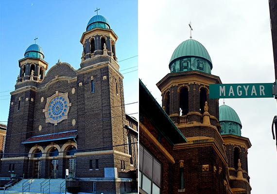 Clevelandhez hasonlóan Toledo is híres magyar származású lakóiról. A képen a helyi Szent István katolikus templom látható, jobb oldalon a Magyar utca táblájával.
