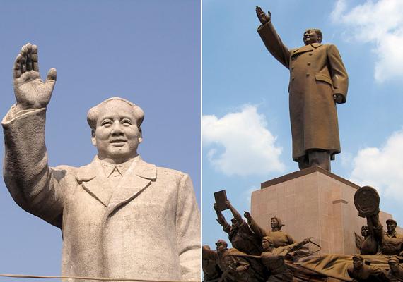 Mao Ce-tungot számos szobor élteti Kínában. Az első kép Shiyue faluban készült, a második Senjangban.