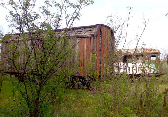 Elhagyott, üres kocsik az üzemterületen. Az Istvántelki Főműhelyt 1905-ben nyitották meg, régi dicsősége azonban a múlt homályába veszett.