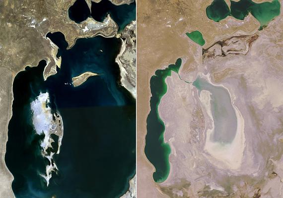 Az Aral-tó ideje lassan leáldozik, hiszen '89-ben még ez volt az egyik legnagyobb kiterjedésű tó a világon, 2008-ra viszont csaknem teljesen kiszáradt.