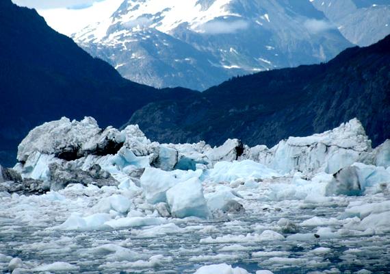A szintén alaszkai Columbia-gleccser 1982 óta 12 kilométerrel rövidült meg. Az úszó jégtömbök akár hajókatasztrófához is vezethetnek.