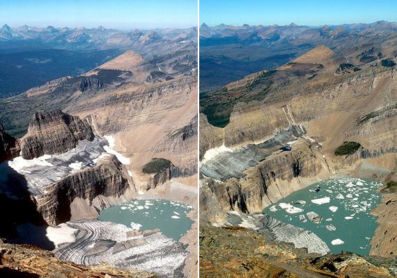Az amerikai Grinnel-gleccser 1981-ben és 2005-ben. Jól kivehető, hogy az évtizedek alatt több mint egy kilométert húzódott vissza.