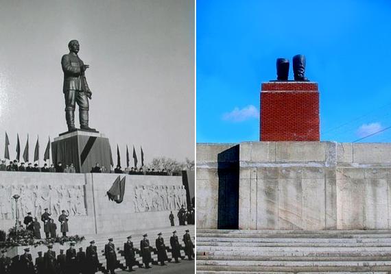 A Sztálin csizmáit tartó tribün csak másolata a korábbi Felvonulási téren álló emelvénynek, mely előtt az ünnepi díszszemléket tartották. A nyolcméteres Sztálin-szobrot október 23-án ledöntötte a fellázadt tömeg. A vezetőnek csak a csizmái maradtak meg, azok pontos mását állították ki a parkban.