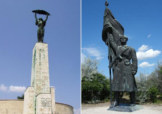 A Gellért-hegyi Szabadság-szobor talpazatán állt a felszabadító szovjet katona bronzmása, de ma már ez is a szoborpark egyik lakója.