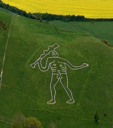 A dorseti óriás, Egyesült KirályságA dél-angliai Carne Abbas közelében ismeretlen kezek egy hatalmas óriást rajzoltak Dorset egyik domboldalára, melynek eredete és célja a mai napig tisztázatlan. A pogány alakot ábrázoló monumentális rajz a helyiek szerint egy pusztító óriás holttestének körülrajzolása nyomán született. Sokan úgy tartják, a rajznak hatalmas ereje van: elsősorban a termékenység reményében érdemes felkeresni.
