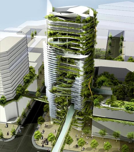 EDITT Tower, Szingapúr                         A szingapúri EDITT tornyot azzal a céllal tervezték, hogy újjáélesszenek egy városi, nem ökológiai területet, ahol a természetes ökoszisztéma teljesen megsemmisült. A környezetbarát építmény rendelkezik esővízgyűjtő-rendszerrel, valamint napkollektorai révén energia-önellátása körülbelül 40%-os lesz.