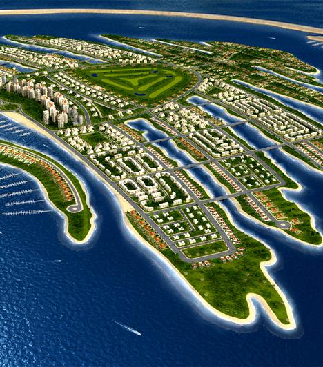 Palm Islands  A pálmafa alakú mesterséges szigetcsoport szintén Dubai-ban, az Egyesült Arab Emirátusok területén található. A szigeteket 2001-ben kezdték felépíteni, a kivitelezés jelenleg is zajlik. A hely több mint száz luxushotelnek, valamint vízi vidámparkoknak, plázáknak és sportlétesítményeknek ad otthont.  Kapcsolódó galéria: A világ legbizarrabb hotelei »