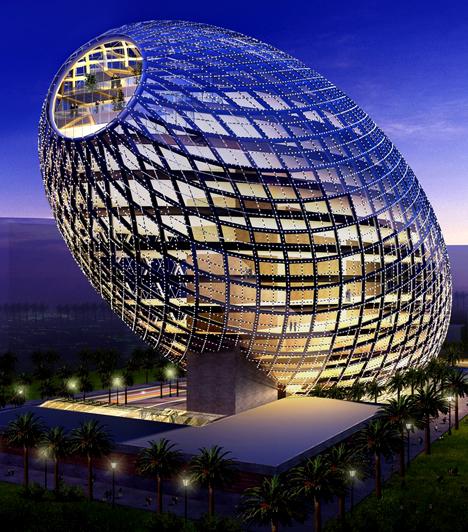 Cybertecture Egg  A Mumbai-i 13 emeletes, 32 ezer négyzetméteres, innovatív és intelligens design alapján kialakított épület a világ egyik leghaladóbb gondolkodású munkahelye. A tervezés során a csodálatos panoráma, a tetőtéri zöld terület, a nap- és szélenergia hatékony kihasználása mellett a dolgozók egészsége is kitüntetett szerepet kapott.  Kapcsolódó cikk: A Halálcsillagot építik fel a sivatagban »