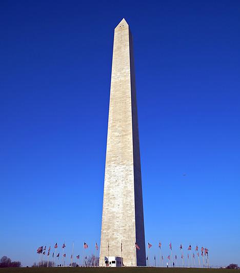 Washington-emlékmű, Washington, USAAz Egyesült Államok fővárosában, a szövetségi törvényhozásnak is otthont adó National Mall parkban található Washington-emlékmű a maga csaknem 170 méterével a világ legmagasabb kőépítménye és obeliszkje. Az első amerikai elnöknek, George Washingtonnak kívántak vele emléket állítani. A parkot és az obeliszket évente 25 millióan keresik fel.
