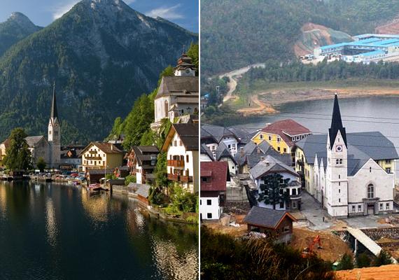 Ahogy a jobb oldali képen látható, a Világörökség részét képező, festői fekvésű, ausztriai Hallstattot is lemásolták Guangdongban.