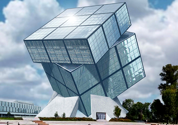 Ilyen lehetne a kocka. Mindenképp olyan épületet akarnak megvalósítani, mely a Rubik-kockát juttatja az emberek eszébe.