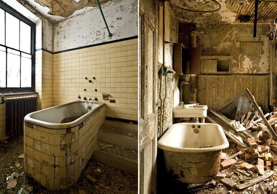 A bal oldali kád a nyugati szárnyban áll, itt fürdették a tuberkulózisban szenvedő betegeket. A jobb oldali pedig a nővérek fürdőszobájában állt.