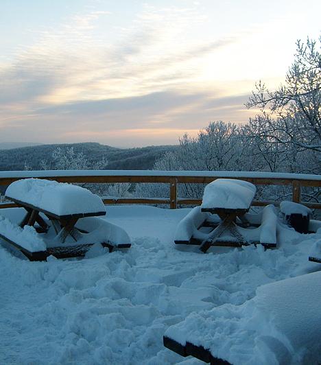 Nagy Hideg-hegy                         A Börzsönyben található Nagy Hideg-hegy kedvelt sí- és túraközpont, így télen is érdemes meglátogatni. Különösen szép, ha friss, érintetlen hó borítja a tájat, és arra is számíthatsz, hogy a kevésbé látogatott, csendesebb időszakban esetleg megpillantasz egy-két vadat. Ha nem vagy gyakorlott túrázó, érdemesebb egy közepesen nehéz, családok számára szintén ideális útvonalat kinézned a turistaösvények közül. Ha nem riaszt el egy kis mozgás és néhány meredek emelkedő, a 864 méter magas Nagy Hideg-hegy csúcsán ilyen meseszép panorámában lehet részed, és a teraszhoz tartozó turistaházban ehetsz, ihatsz, illetve megmelegedhetsz.