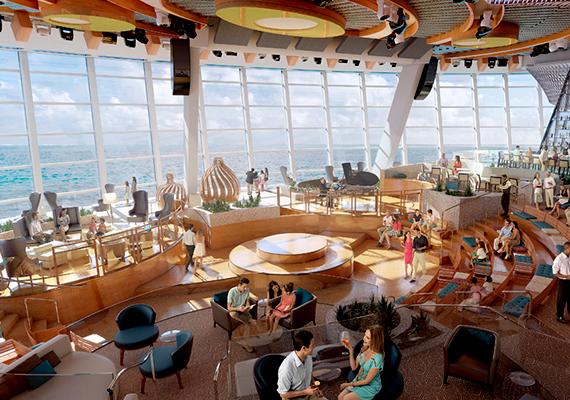 A végtelen óceán látványát a hatalmas panorámaablakon át is élvezhetik az utasok.