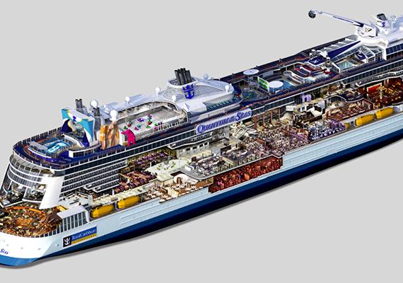 A csaknem ötezer fős utaskapacitással bíró hajón többek között bevásárlóközpont, könyvtár, kaszinó, kápolna, mászófal, szörfszimulátor, számos medence, spa és szabadtéri óriáskivetítő is található.