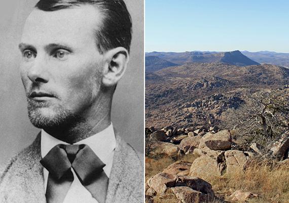 Jesse James kincse                         Az 1800-as évek végén tevékenykedő vadnyugati banditáról, Jasse James-ről az a legenda járja, hogy mexikói testőröktől rengeteg aranyrudat zsákmányolt, és valahol a Wichita Mountains sziklái közt rejtette el. A kincs helyét állítólag egy Schofield-revolverből egy nyárfába lőtt hat golyóval jelölte meg. Ezt Josh is kipróbálja, és rájön, hogy ez alapján soha nem találják meg a kincset: a friss lyukak is alig látszanak, a száz évvel ezelőttiek pedig már biztosan eltűntek. A képeken Jesse James, illetve a Wichita Mountains részlete látható.