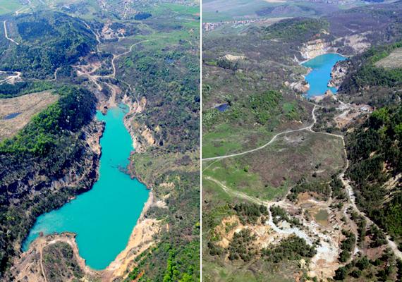 Légifelvételek a bányatóról. Rudabánya Borsod-Abaúj-Zemplén megyében, Kazincbarcikától körülbelül 15 kilométerre található.