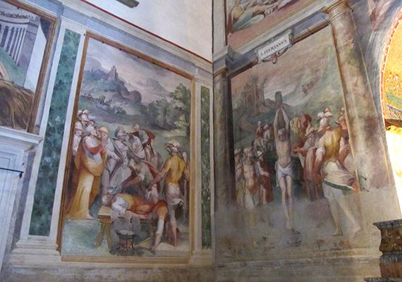 Híressé, illetve hírhedtté - már ha lehet ilyet mondani templomra - vált ugyanis jellegzetes freskói miatt, melyek Niccolò Circignani és Antonio Tempesta nevéhez köthetők.