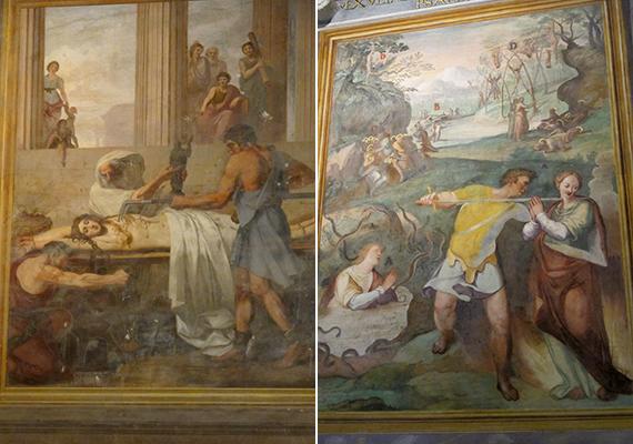 A freskókon az erőszakos jelenetekkel ellentétes hatást váltanak ki a mártírok békét és alázatot tükröző arcai.