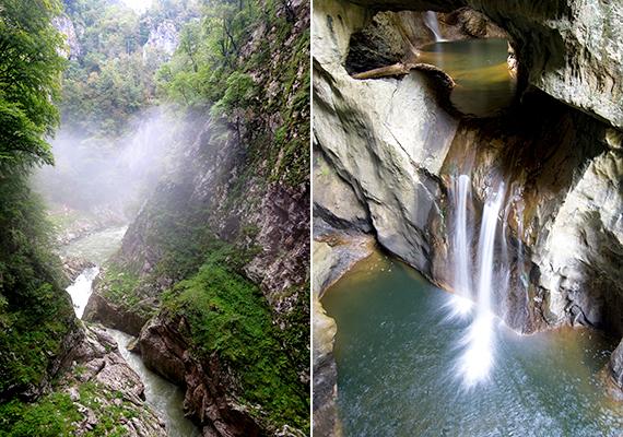 A Reka-folyó itt tűnik el a felszínről, hogy a barlangrendszer mélyén, a föld alatt folytassa útját.