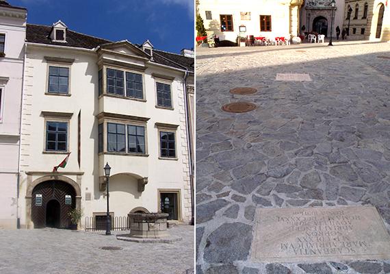 A bal oldali képen a 14. századi Fabricius-ház látható, mely jellemzően tekintélyes, gazdag polgárok otthonául szolgált - érdekesség, hogy római fürdő maradványaira bukkantak alatta -, a jobb oldali képen pedig a Borostyánút rekonstrukciója, mely szintén a Fő téren található.