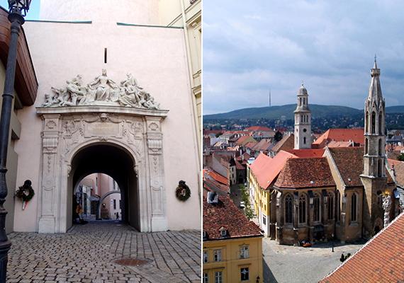 Balra a Tűztorony nemrég felújított kapuja látható, jobbra pedig a felülről nyíló panorámából egy kis ízelítő.