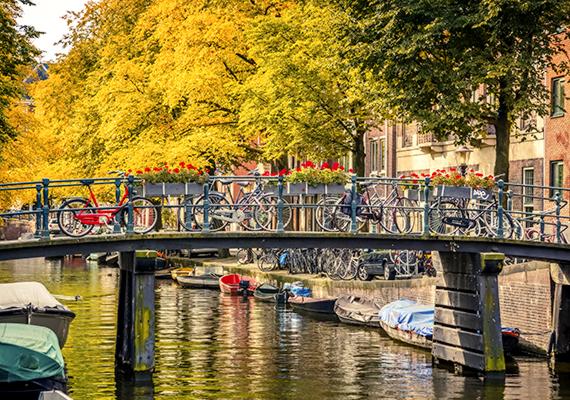 Csatornák, hidak, álmos csónakok és biciklik az amszterdami őszben.