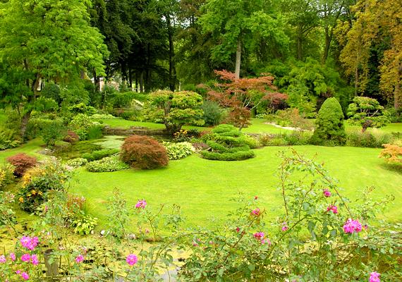 A franciaországi Courances-kert vízeséseivel, ligeteivel igazi vadregényes helyszín. A háttérképért kattints ide!