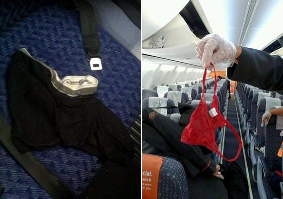 Talált tárgyak a repülő fedélzetén.