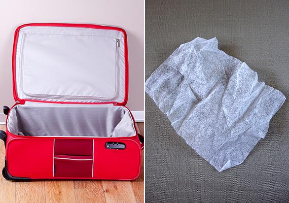 Ha szeretnéd, hogy ruháid az utazás során frissek és illatosak maradjanak, elsőként ügyelj rá, hogy indulás előtt a bőröndöt alaposan kiszellőztesd, bepakolás után pedig tegyél bele egy szárítókendőt, illatkendőt, mely, bár még nem olyan közkeletű, nálunk is kapható a drogériákban. Ha magának a bőröndnek van kellemetlen illata, egy tisztító áttörlés után a ruhák bepakolása előtt is tehetsz bele egyet egy éjszakára.
