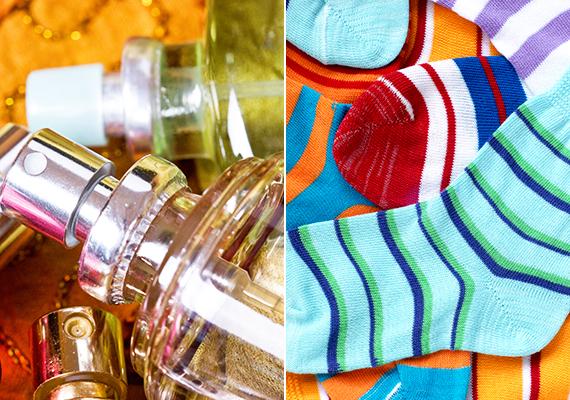 Ha törékeny holmit viszel magaddal, például parfümösüveget, megelőzheted a kellemetlen problémákat, ha például beleteszed az egyik zokniba.