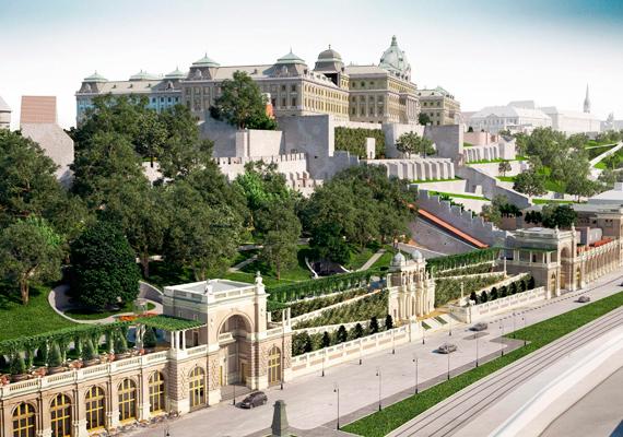 A Várkert Bazár délkeleti nézete a királyi palotával, előtérben a fülkepavilonnal.