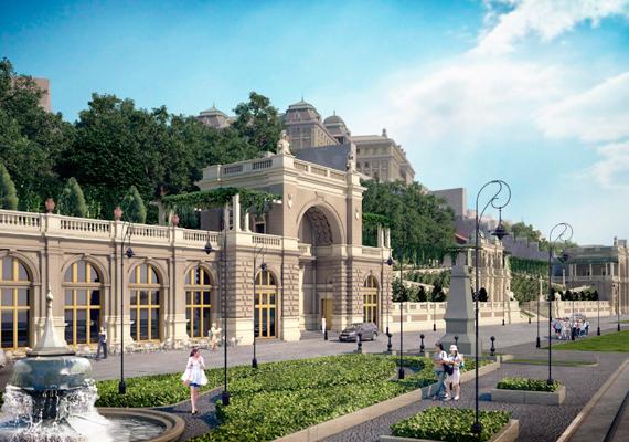 A Várkert Bazár az Ybl Miklós térrel délkelet felől, előtérben a déli bazársorral és a fülkepavilonnal.