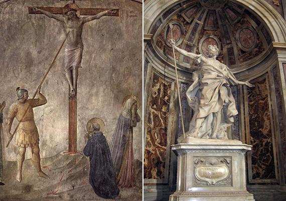 Szintén a bazilikában őrzik azt a tárgyat, melyet Longinus lándzsájának tartanak. A Szent lándzsának, illetve a Végzet lándzsájának is nevezett fegyverrel sebezte meg egy Longinus nevű római katona a keresztre feszített Jézust, annak bizonyítására, hogy valóban meghalt-e. A katona arcára cseppent vérnek azonban a legenda szerint gyógyító hatása volt, Longinus csatlakozott az apostolokhoz, megőrzött lándzsáját pedig Szent Péternek adta. A jobb oldali képen Longinus szobra látható, mely az ereklye fölött található.