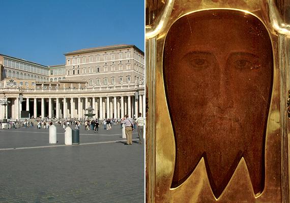 A bal oldali képen a Pápai Palota részlete látható, a jobb oldalin pedig a Szent Mandylion ikon, melyet itt, a pápa magánkápolnájában őriznek. A mandylion elnevezés Jézus legkorábbi ábrázolását, olyan önarcképét takarja, mely a keresztény hagyomány szerint mennyei eredetű, nem emberi kéz alkotta. A különleges ereklyét több alkalommal is kiállították.