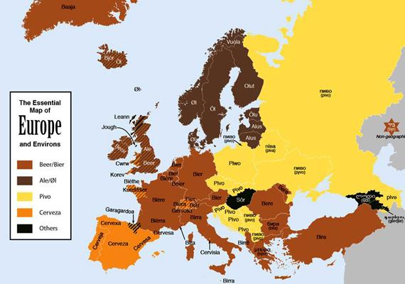 Európa sörtérképe annak alapján, melyik országban hogyan nevezik. Igazán egyedi szavunk van az aranyló nedűre.